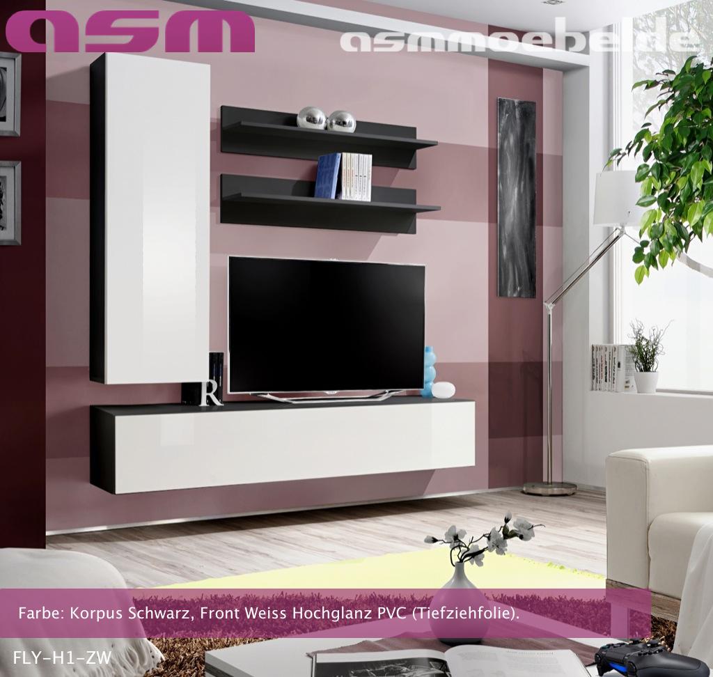 Wohnzimmer Anbauwand Ebay : Anbauwand Wohnwand Wohnzimmer Schrankwand FLY H HOCHGLANZ PVC LED