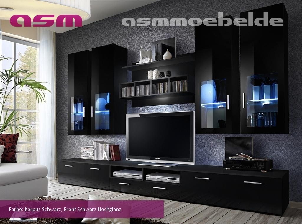 Wohnwand anbauwand wohnzimmer schrankwand lyra hochglanz for Tv schrankwand design