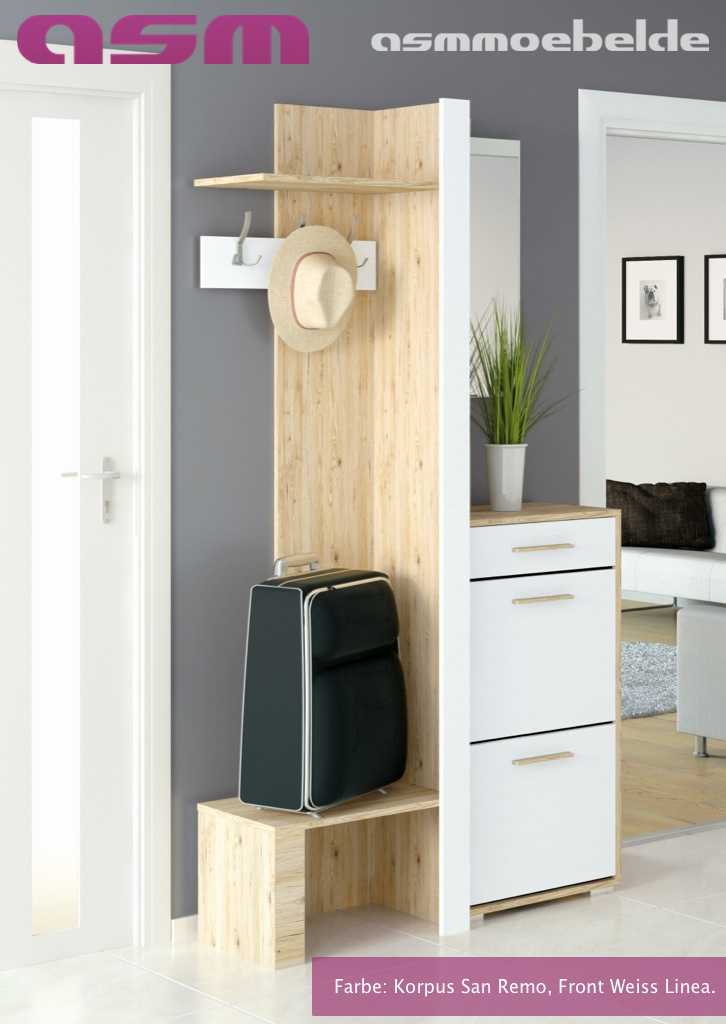 Garderobe flurgarderobe sitzbank panel schuhschrank for Flurgarderobe paneel
